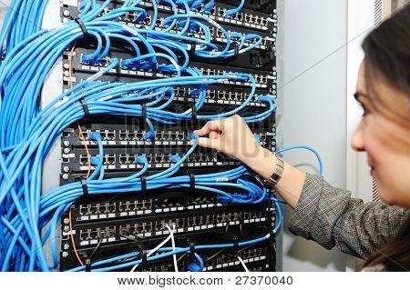 Female administrator at server