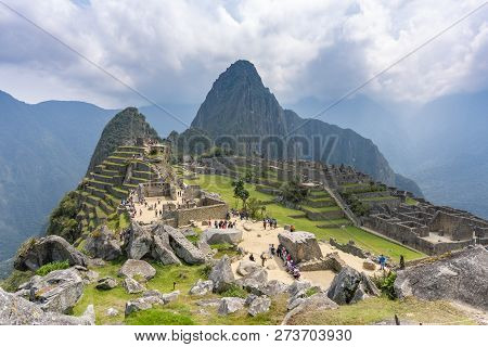 Machu Picchu, Peru - Sep 14, 2018: Tourist Visiting Machu Picchu In Peru. It Is An Inca Citadel And