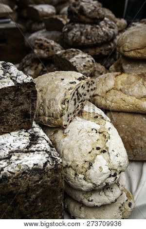 Large Artisan Breads, Traditional Bakery Detail In Market