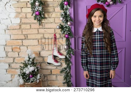 In Love With French Style. Small Model With Fashion Look. Little Fashionista On Christmas. Fashion G