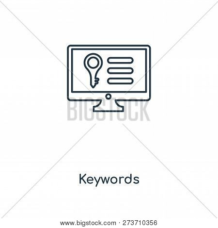 Keywords Icon In Trendy Design Style. Keywords Icon Isolated On White Background. Keywords Vector Ic