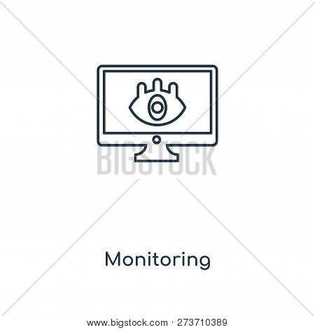 Monitoring Icon In Trendy Design Style. Monitoring Icon Isolated On White Background. Monitoring Vec