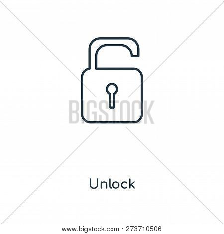 Unlock Icon In Trendy Design Style. Unlock Icon Isolated On White Background. Unlock Vector Icon Sim