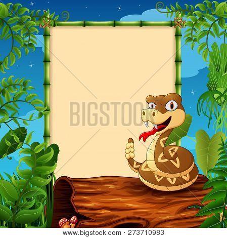 Cartoon Rattlesnake On Hollow Log Near The Empty Framed Signboard