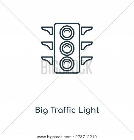Big Traffic Light Icon In Trendy Design Style. Big Traffic Light Icon Isolated On White Background.