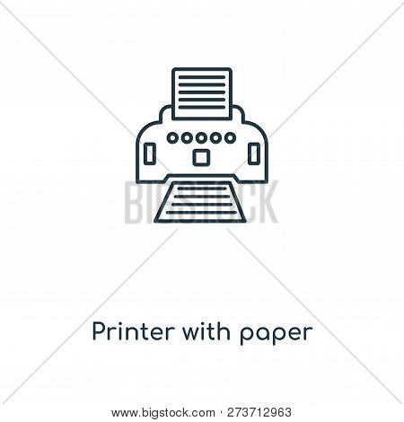 Printer With Paper Icon In Trendy Design Style. Printer With Paper Icon Isolated On White Background