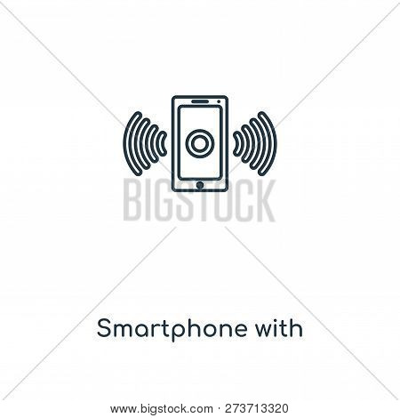 Smartphone With Wireless Connection Icon In Trendy Design Style. Smartphone With Wireless Connection