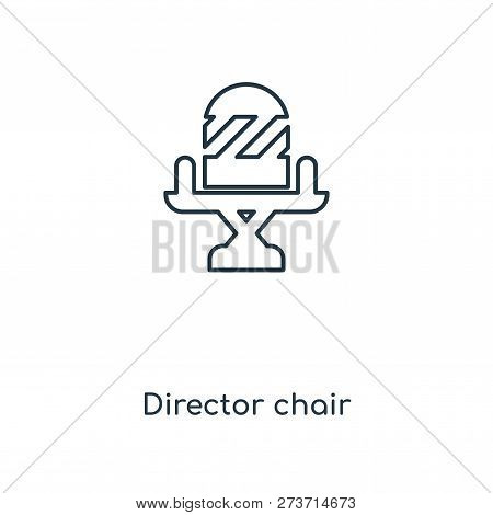 Director Chair Icon In Trendy Design Style. Director Chair Icon Isolated On White Background. Direct