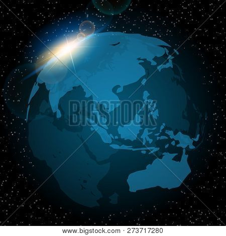 Dawn From Space. Dawn From Space. Rising Sun Behind The Earth. Vector Background.