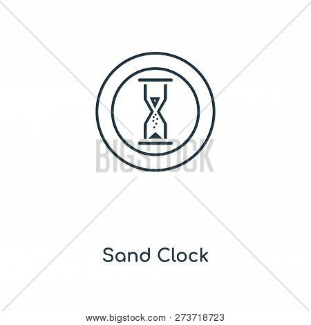 Sand Clock Icon In Trendy Design Style. Sand Clock Icon Isolated On White Background. Sand Clock Vec