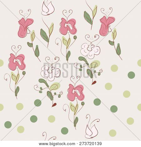 Flowers. Careless Drawing. Doodle. Background, Wallpaper, Texture. Seamless.