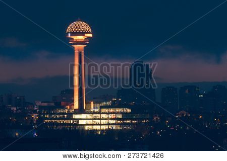 ANKARA, TURKEY - DECEMBER 03, 2018:Atakule at night. Atakule is one of the primary symbolic landmarks of Ankara and has been restored recently.