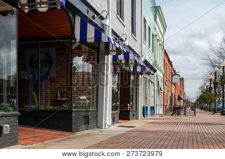 Feyetteville, Nc. December 24, 2015. Impression Of The Local Businesses On Person Streek In Down Tow