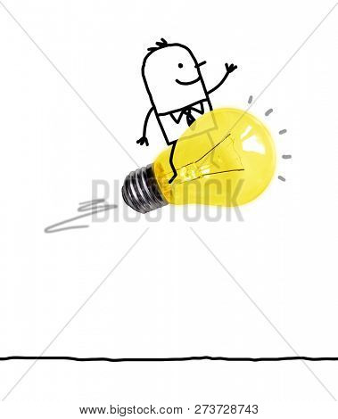 Hand Drawn Cartoon Man Riding on a Light Bulb Rocket