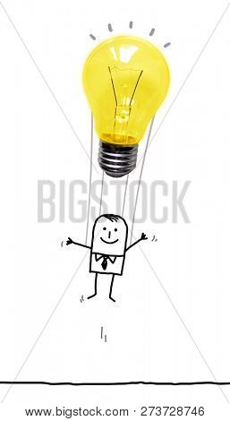 Hand Drawn Cartoon Man in the Air with a Light Bulb Balloon