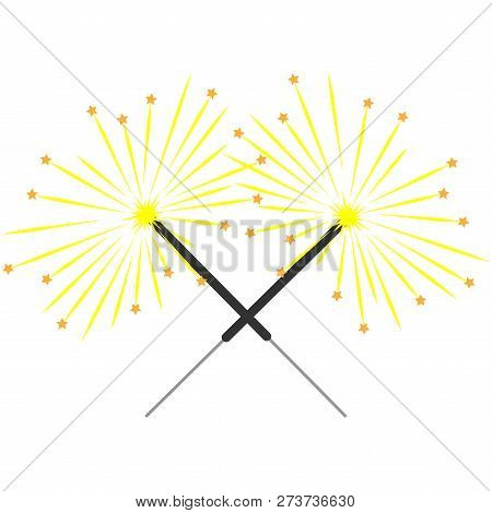 Double Sparkler Sign With Stars. Logo For Holiday, Celebration. Celebration Symbol. Beautiful Colorf