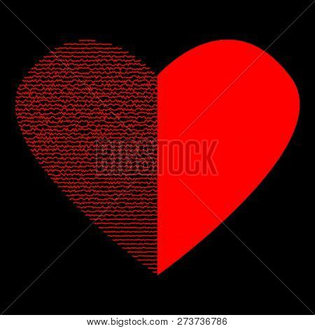 Red Heart With Lines On Black Half Sign. Logo For Romantic Holiday, Celebration. Image Of Romance. M