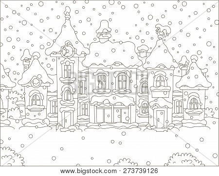 Small Houses Of A Toy Town On A Snowy Winter Day, Black And White Vector Illustration In A Cartoon S