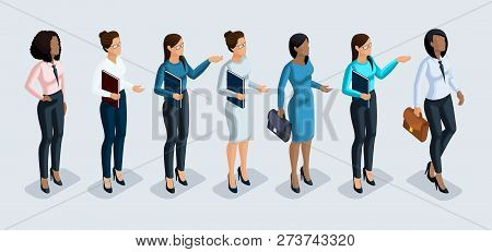 Isometry set of business women. 3D girls African American and European office worker, in business trousers and blouse and trousers. Girl for vector illustration. poster