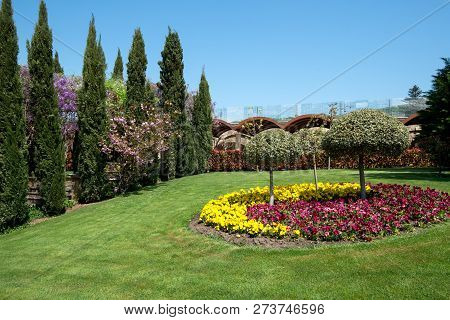 View Of An Attractive Backyard With Blooming Flowers, Conifers And Well-kept Lawns - Wide Angle View