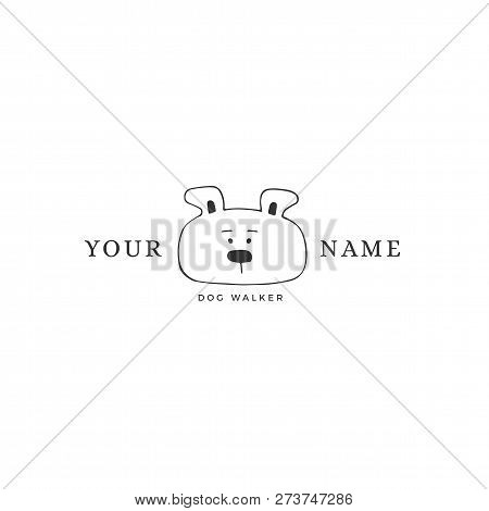 Vector Hand Drawn Logo Template For Pets Related Business. Head Of A Dog. For Pets Related Business.