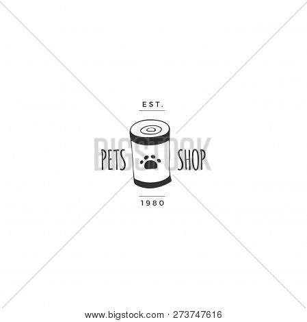 Vector Hand Drawn Logo Template For Pets Related Business. Can With Pet Food. Illustration For Pet S