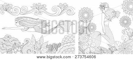 Beautiful Mermaid Girls Under The Ocean Set For Illustration And Coloring Book, Coloring Page Or Col