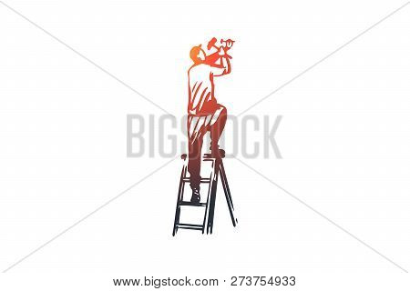 Fixture, Installation, Repair, Worker, Construction Concept. Hand Drawn Repairman Fixing Constructio