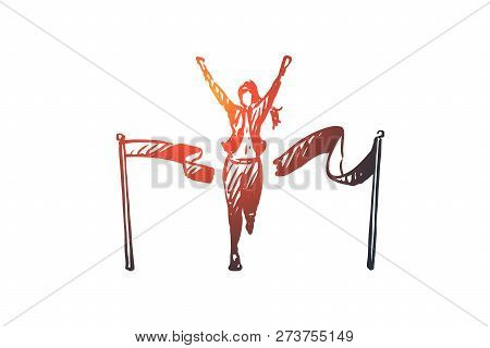 Leader, Winner Vector Concept. Woman Crossing Finish Line And Breaking Ribbon. Hand Drawn Sketch Iso