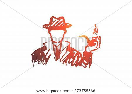 Investigate, Magnifier, Search, Man, Detective Concept. Hand Drawn Detective Man With Tobacco Pipe C
