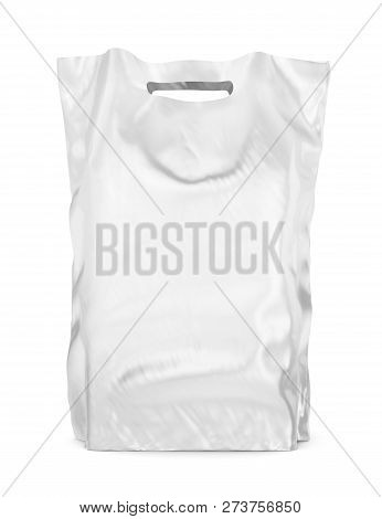 Blank Plastic Carrier Or Shopping Bag Isolated On White Background. 3d Illustration