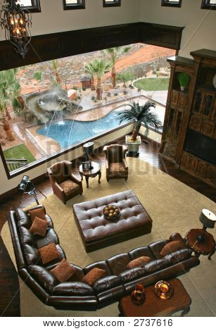 Custom Family Room With View Of Pool