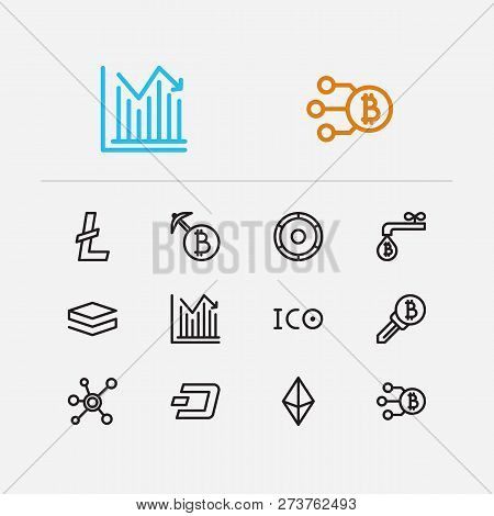 Crypto Currency Icons Set. Coin Faucet And Crypto Currency Icons With Node, Stratis And Dash. Set Of