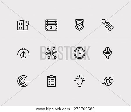 Commerce Icons Set. Money And Commerce Icons With Conversion Funnel, Price Tag And Clock. Set Of Lig