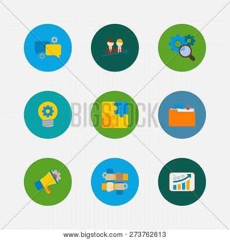 Technology Partnership Icons Set. Successful Partnership And Technology Partnership Icons With Partn