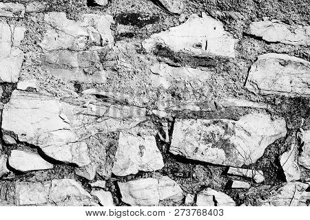 Rock Bricks Patterned Laying Black And White Textured