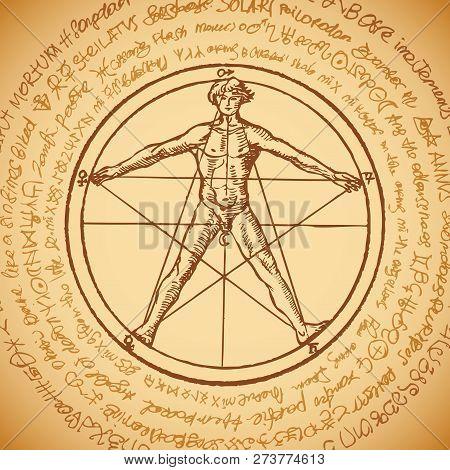 Vector Banner With A Human Figure Like Vitruvian Man Leonardo Da Vinci In A Pentagram. Hand-drawn Il