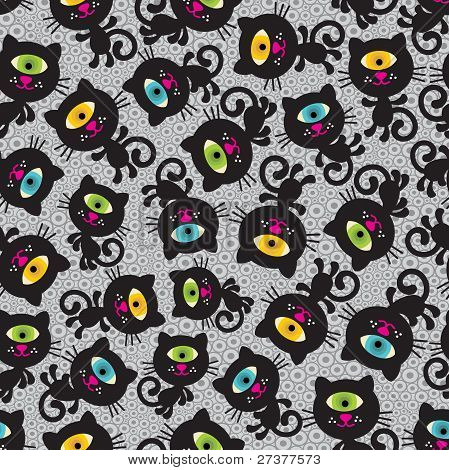 Cute monsters cats seamless pattern.