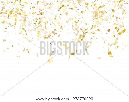 Gold Glitter Confetti Flying On White Holiday Poster Background. Glamour Flying Tinsel Elements, Gol
