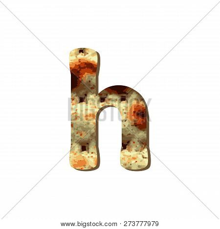 Rounded English Lowercase Letter H With Matza Texture. Font For Passover. Vector Illustration On Iso