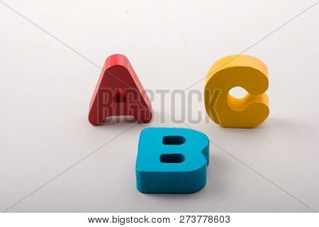Letters of abc of alphabet on white color background poster