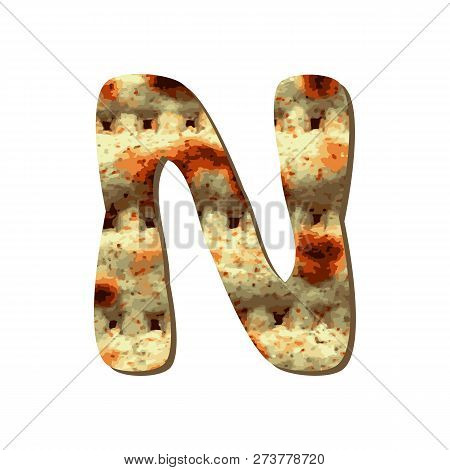 Rounded Capital English Letter N With Matza Texture. Font For Passover. Vector Illustration On Isola