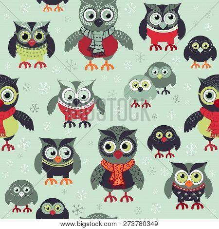 Owls In Winter 4 - Pattern.eps