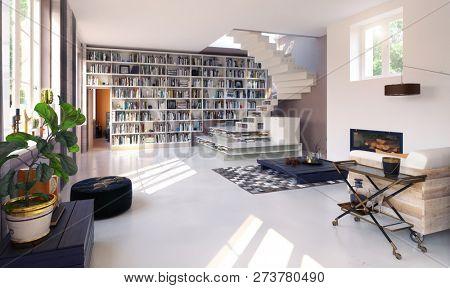 modern living interior. 3d rendering concept design