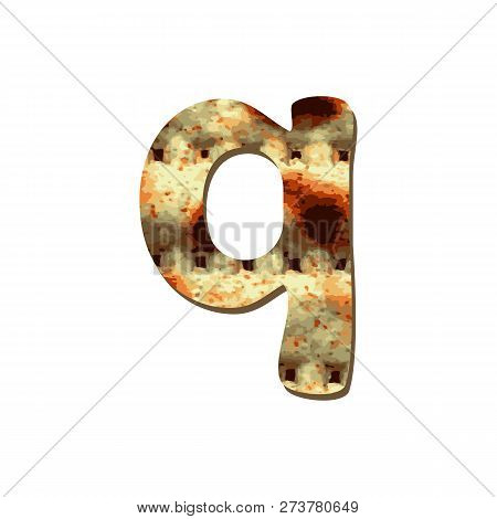 Rounded English Lowercase Letter Q With Matza Texture. Font For Passover. Vector Illustration On Iso
