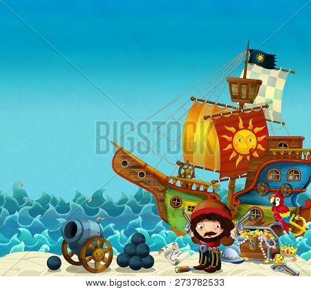 Cartoon Scene Of Beach Near The Sea Or Ocean - Pirate Captain On The Shore With Cannon And Treasure