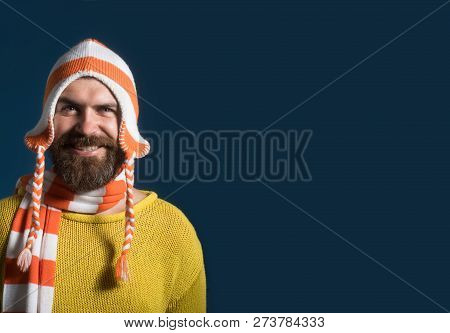 Handsome Bearded Man Wearing Autumn Or Winter Clothing. Casual Look. Men Autumn/winter Fashion. Fash