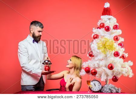 Romantic Relationships. New Year's Eve. Couple In Love At Christmas Or New Year. Christmas Tree. Fam