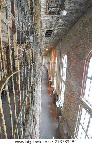 Mansfield, Oh, May 29, 2018, Ohio State Reformatory, Former Prison, Long Row Of Multiple Prison Cell