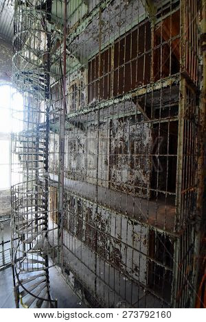 Mansfield, Oh, May 29, 2018, Ohio State Reformatory, Former Prison, Spiral Staircase To Multiple Sto